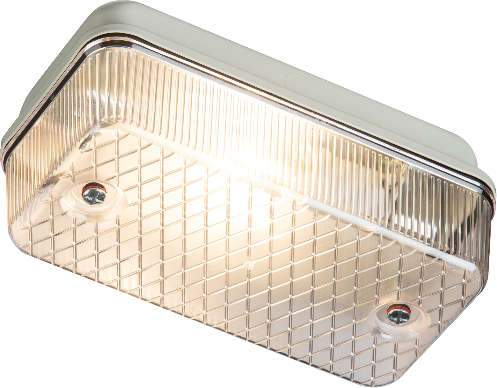230V IP65 100W max (ES) E27 Bulkhead with Clear Prismatic Diffuser and Aluminium Base