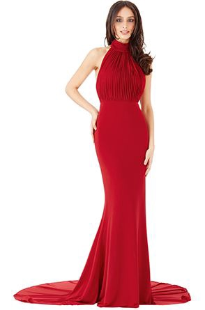 Floor Length Gown - Red Halter Neck Fishtail Maxi Dress, NEW