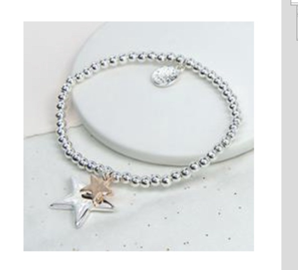Rose gold and silver plated star bracelet