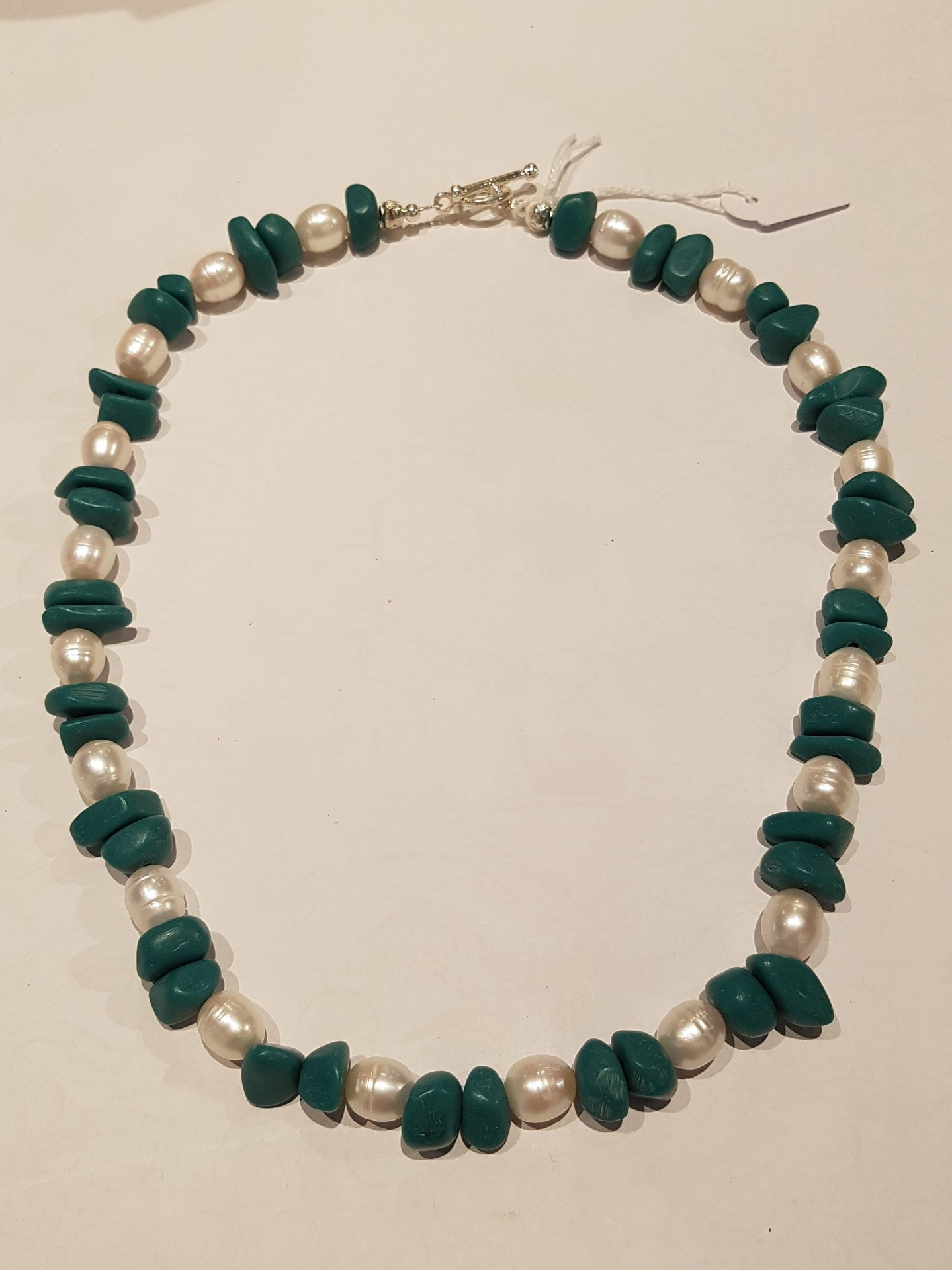 Fresh Water Pearl and Teal Resin Bead Necklace