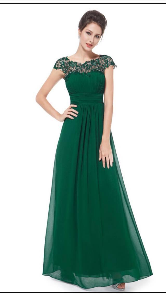 Green lace cap bridesmaids dresses