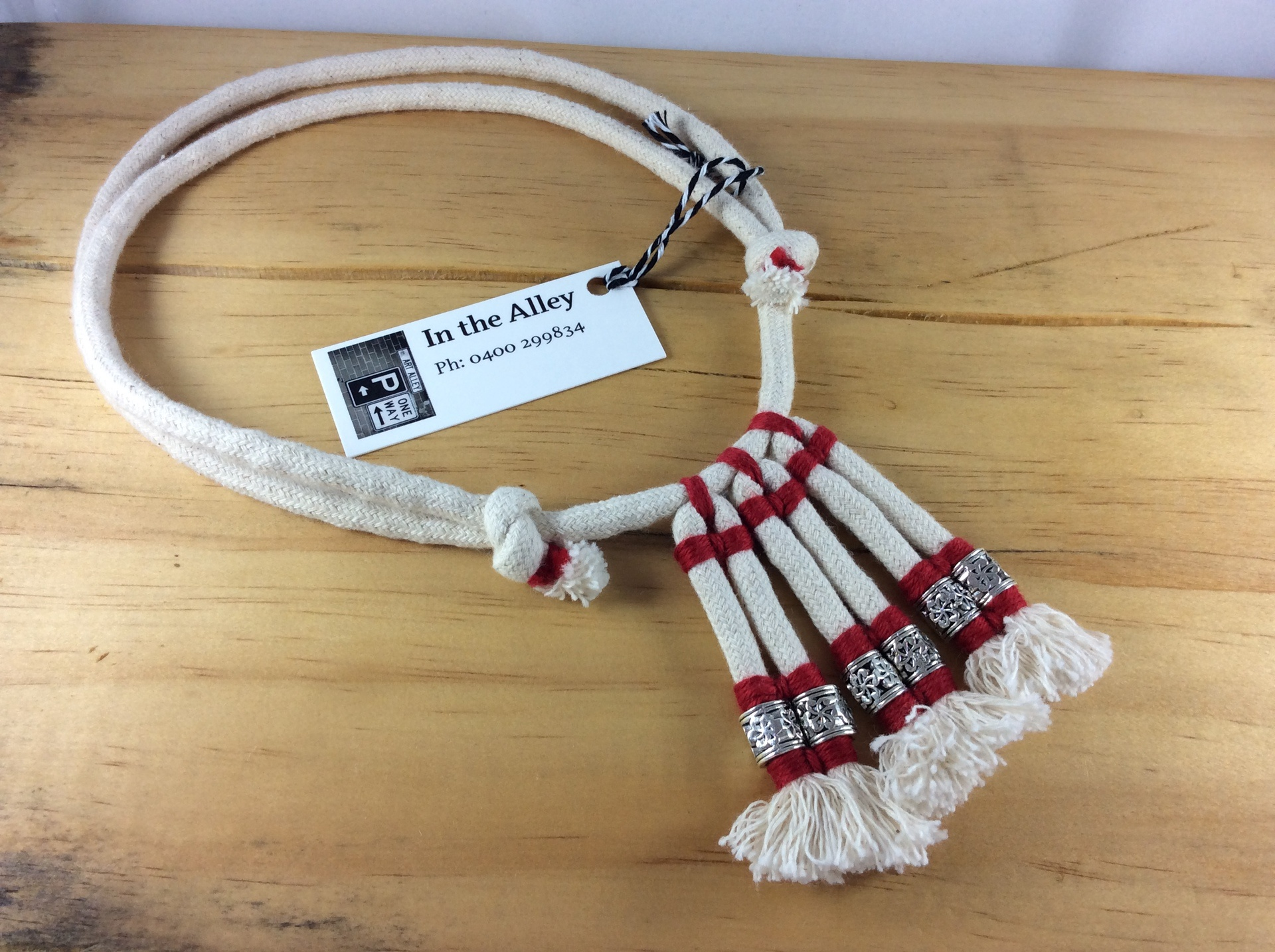 Syx Frayed Lines 'The Original' Frayed Cotton Rope Necklace in Mars Red