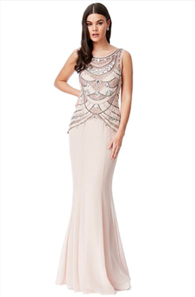 Floor Length Gown - Nude Embellished Bodice Chiffon Maxi Dress, NEW