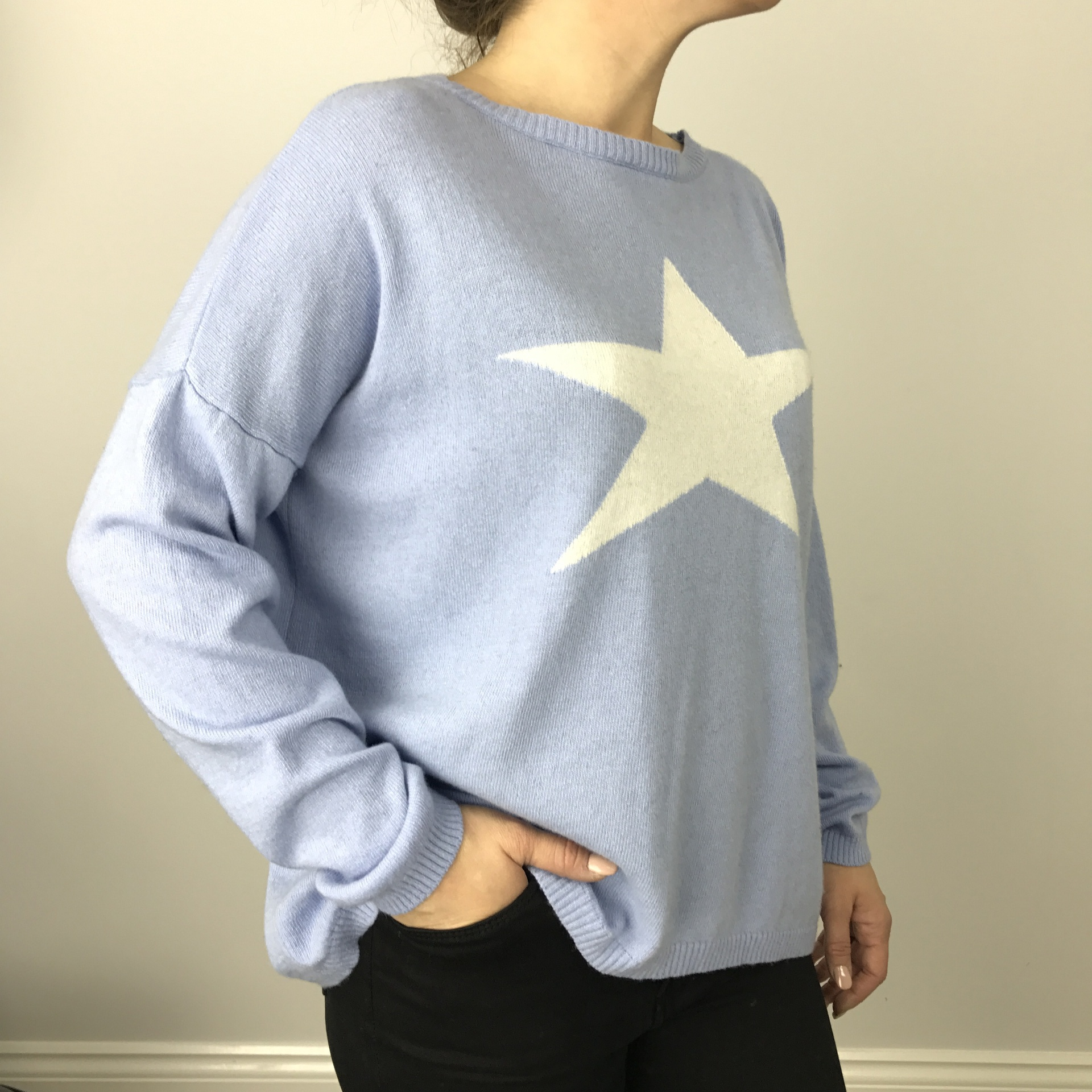 Luella Cashmere Star Jumper Pale Blue