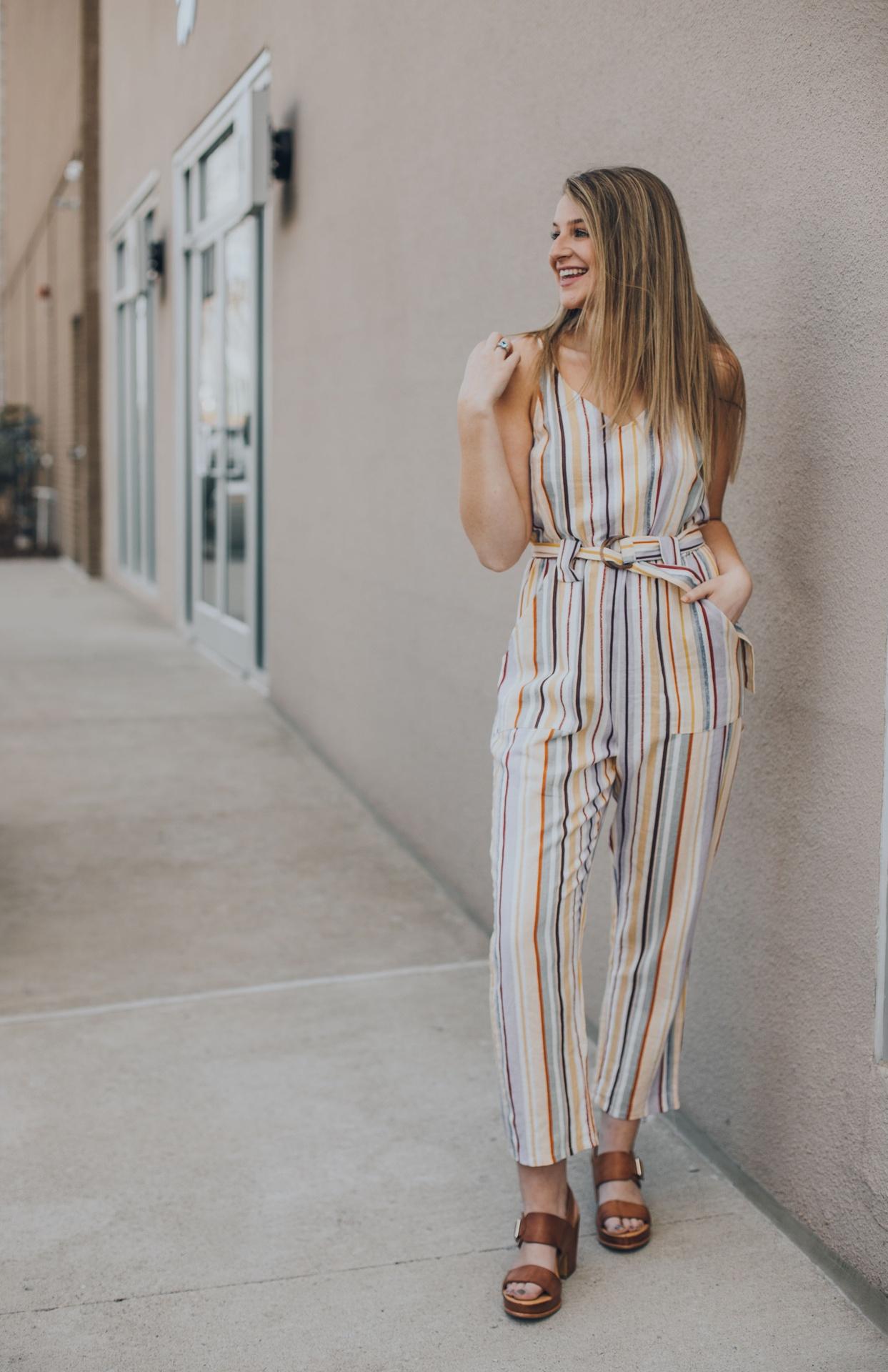 Multi Stripe Jumpsuit w Belt