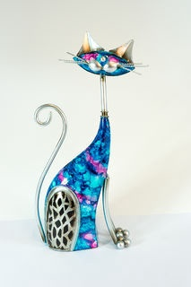 Cat - Blue and Pink Metal Cat