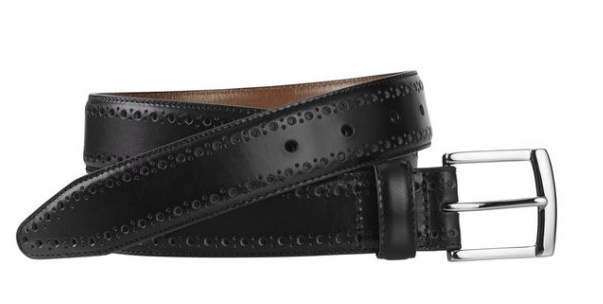 JOHNSTON & MURPHY - PERFED-EDGE BELT IN BLACK