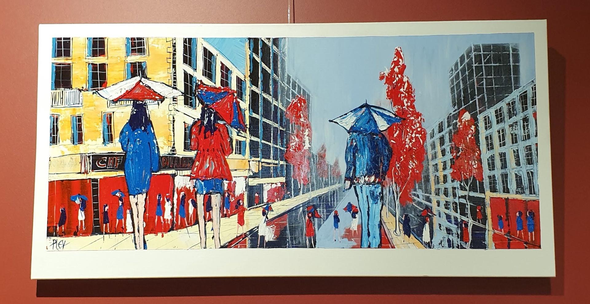 Raining in the city - Acrylic on canvas