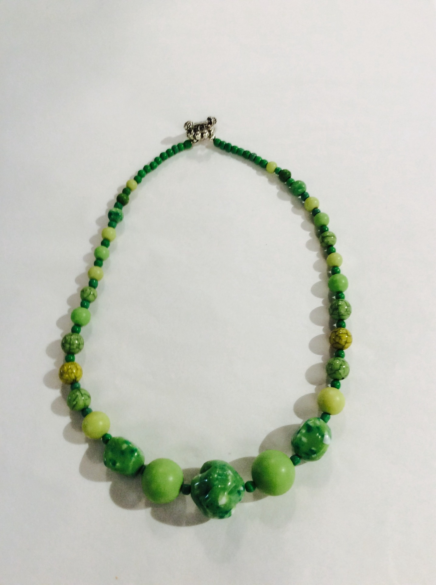 Vintage Green Beaded Necklace