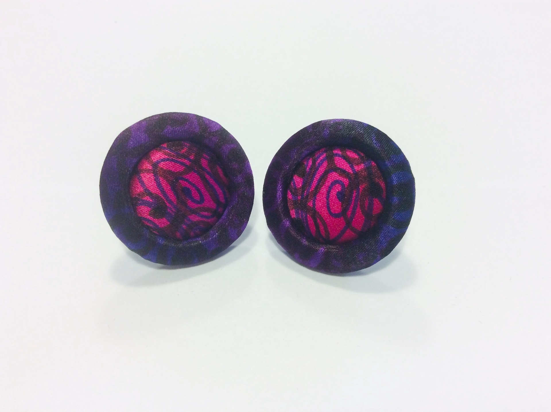 Purple black and crimson hand painted silk stud earrings