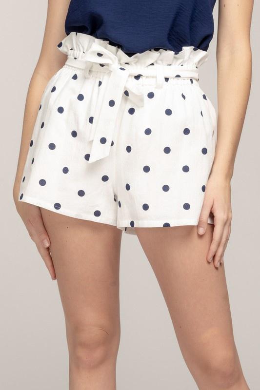 Blk/Wht Polka Dot Shorts w Tie