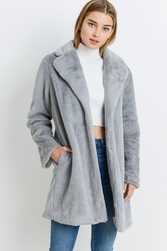 Grey Fur Long Coat
