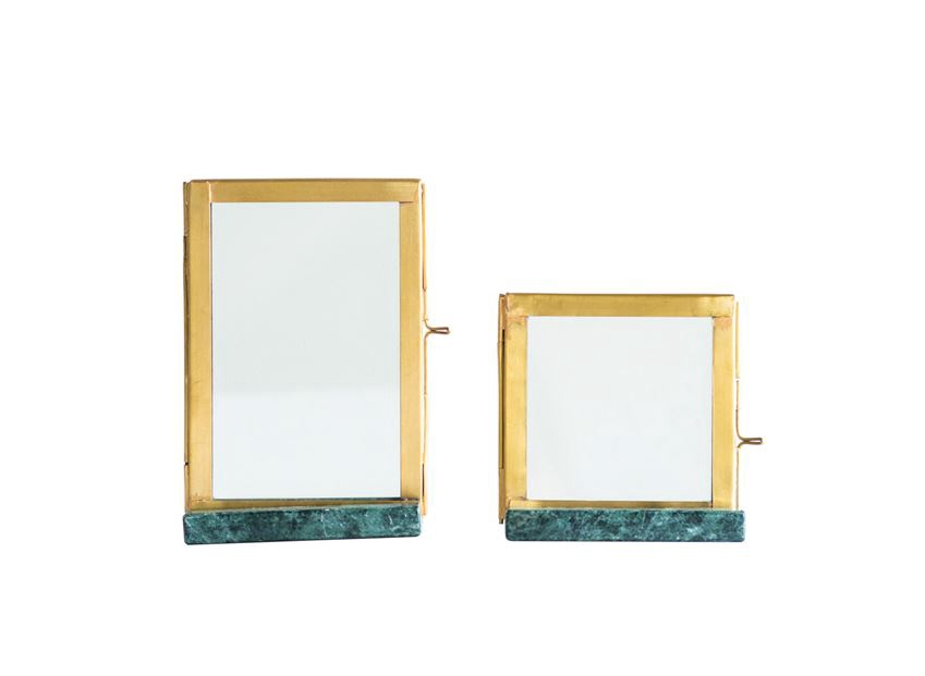 Green Marble and Brass Picture Frames