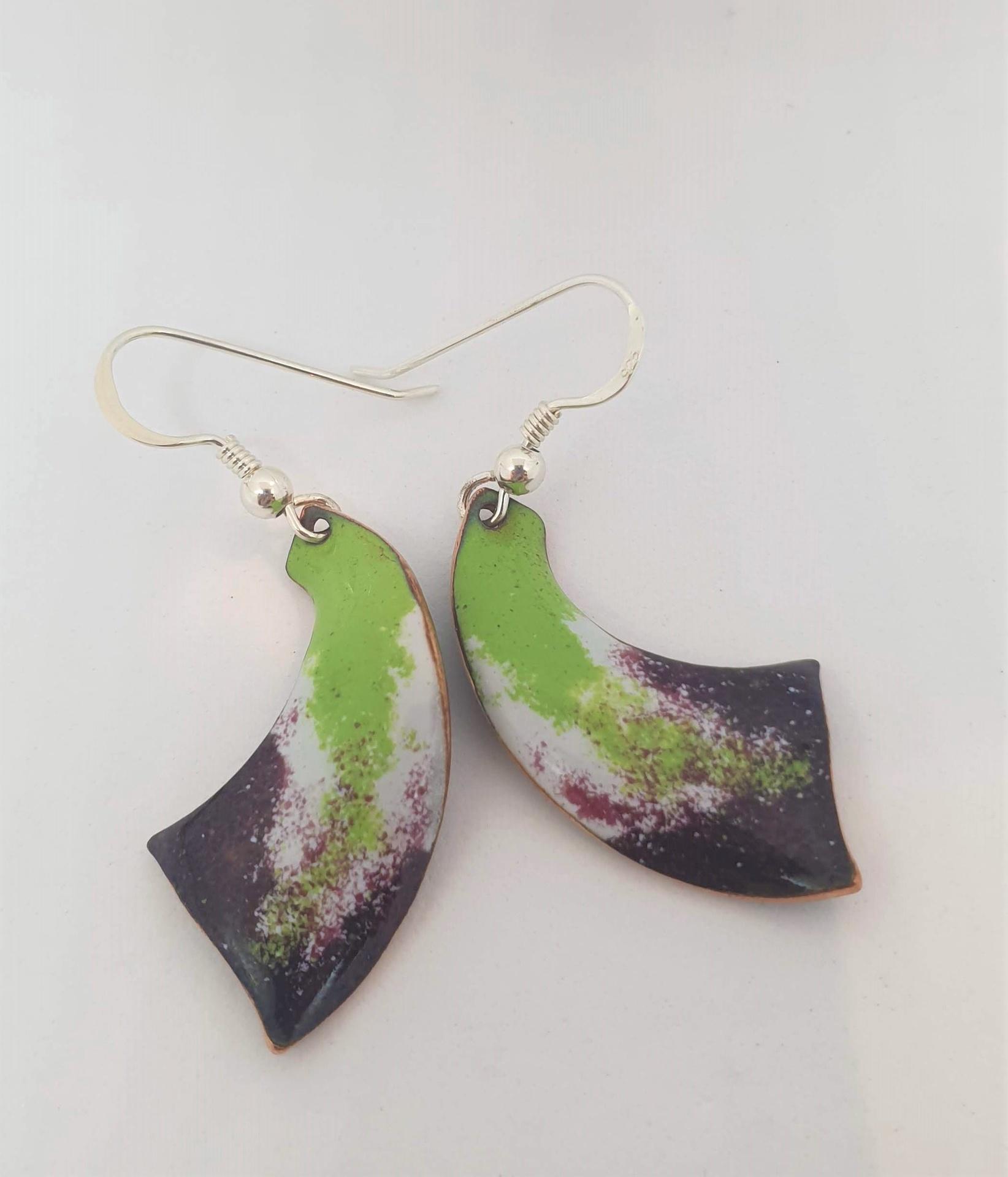 Green and Purple Enamel earrings