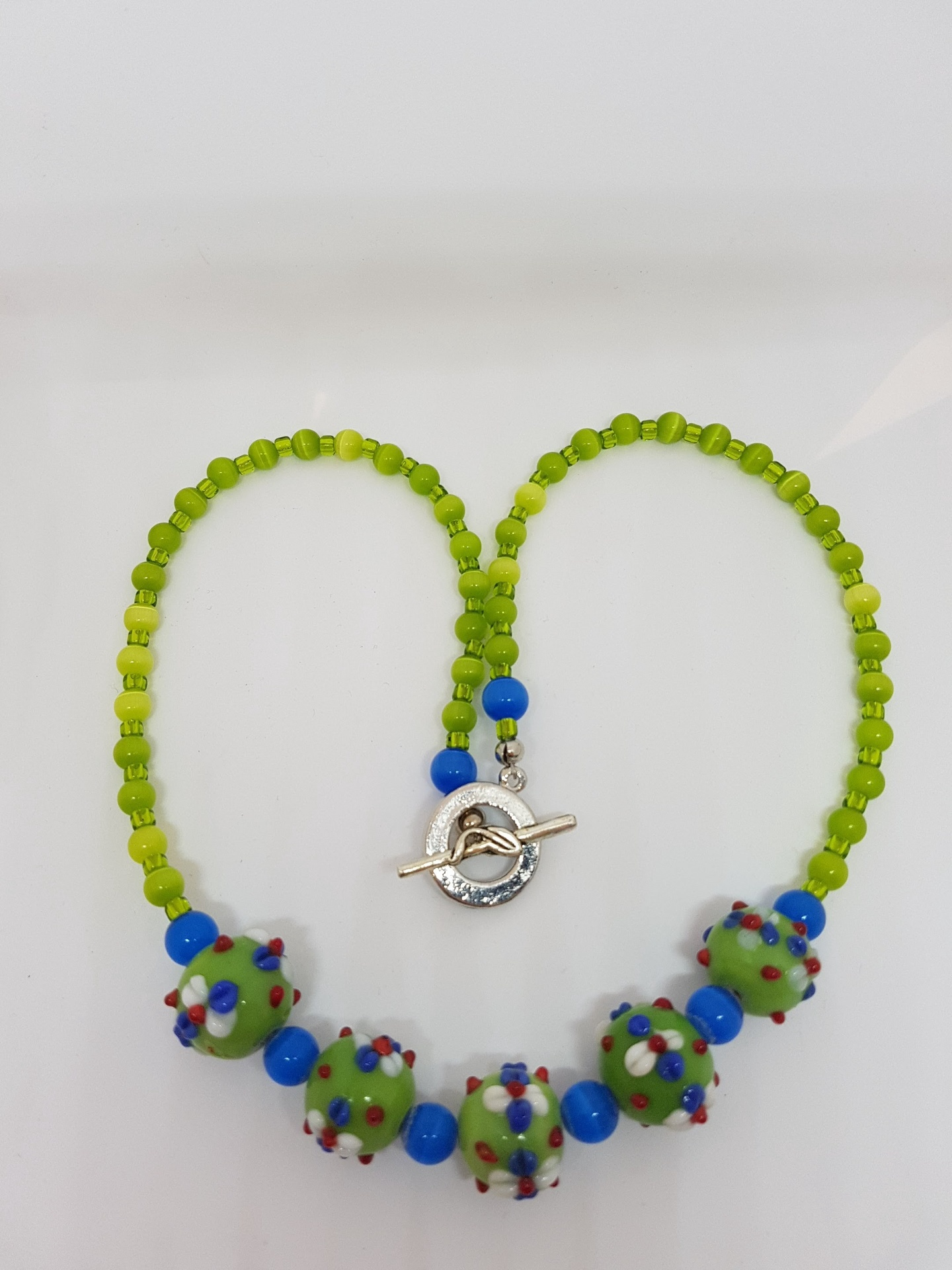 Green and Blue Vintage beaded necklace