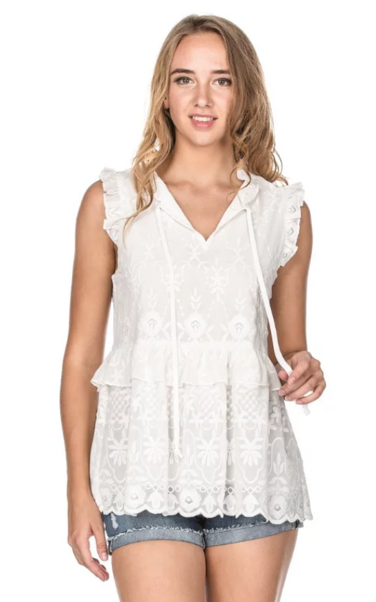 White Embr Ruffles S/less Top