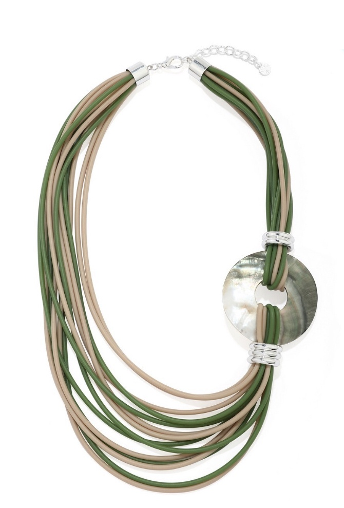 Multi Strand Green & Beige Rubber Necklace with Mother of Pearl Disc