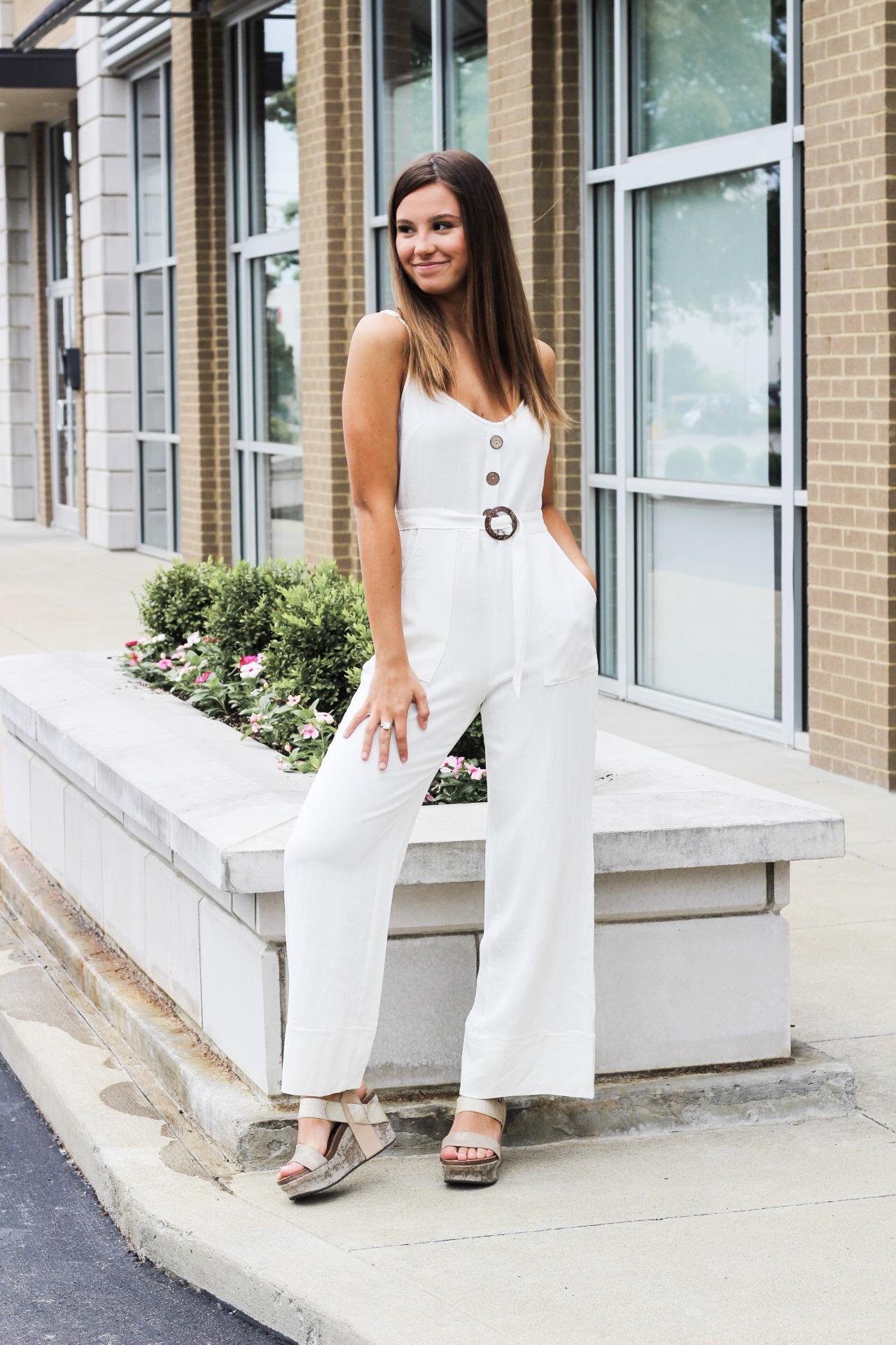 Cream Linen Jumpsuit w Buttons Up Front n Circle Belt