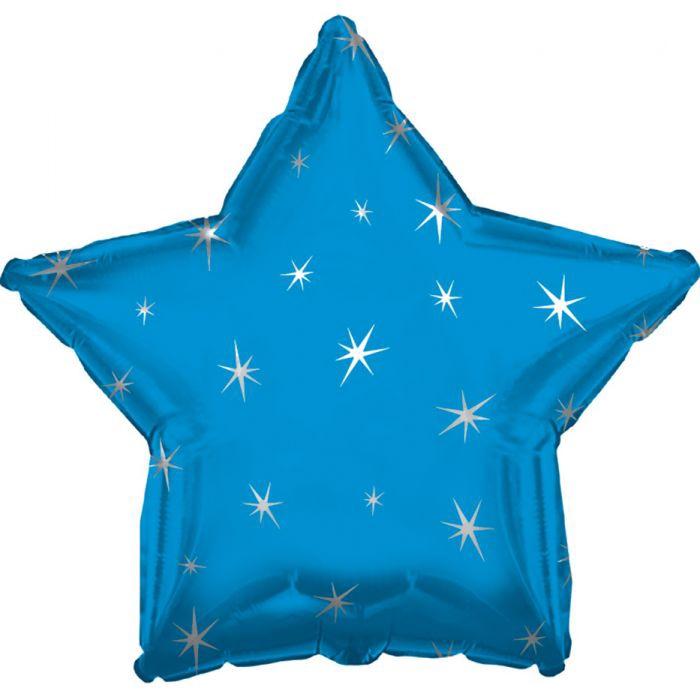 BLUE SPARKLE STAR 17 INCH FOIL BALLOON