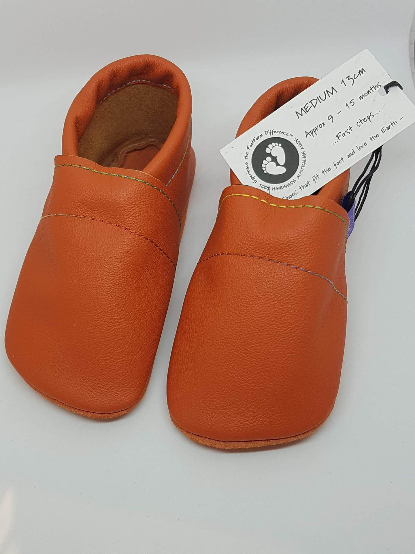 Bright Orange Leather Toddler Shoes with Rainbow Stitching