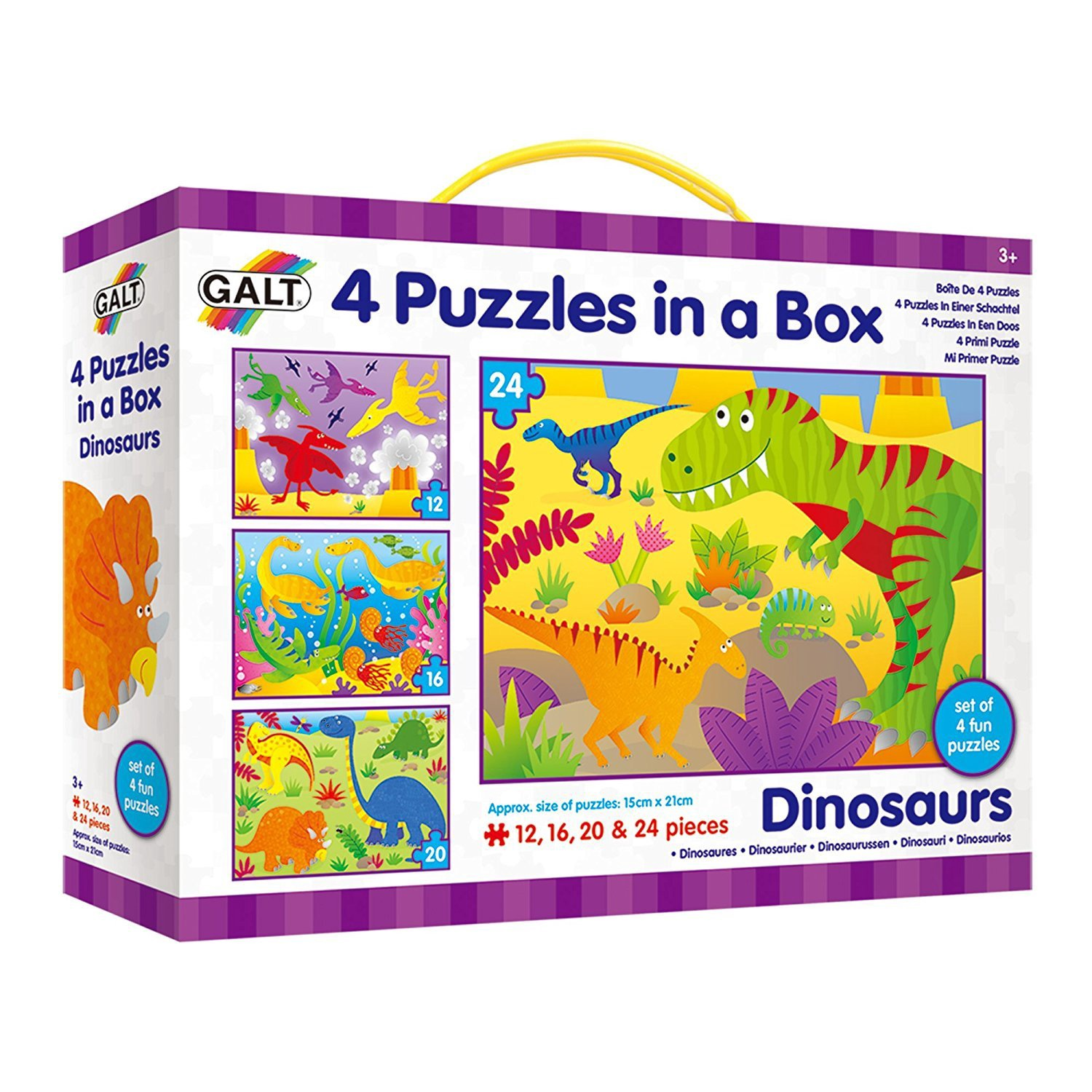 DINOSAURS 4 PUZZLES IN A BOX