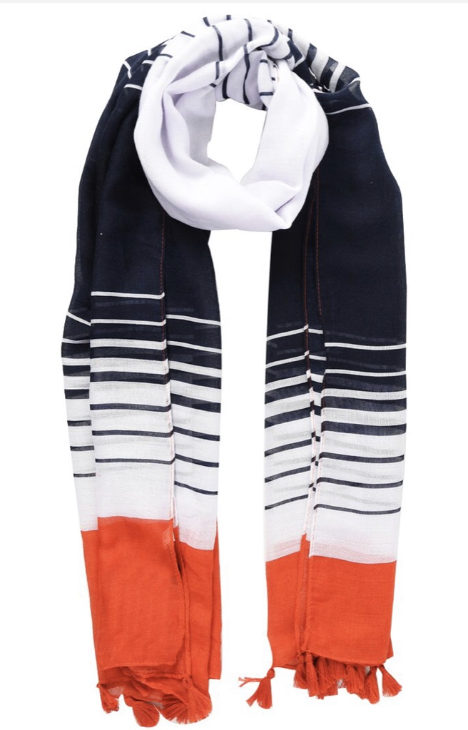 Navy & white stripe scarf with red band & tassels
