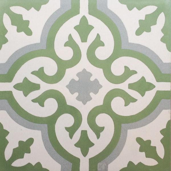 Handmade Tile | Grey Green Mediterranean Ornaments