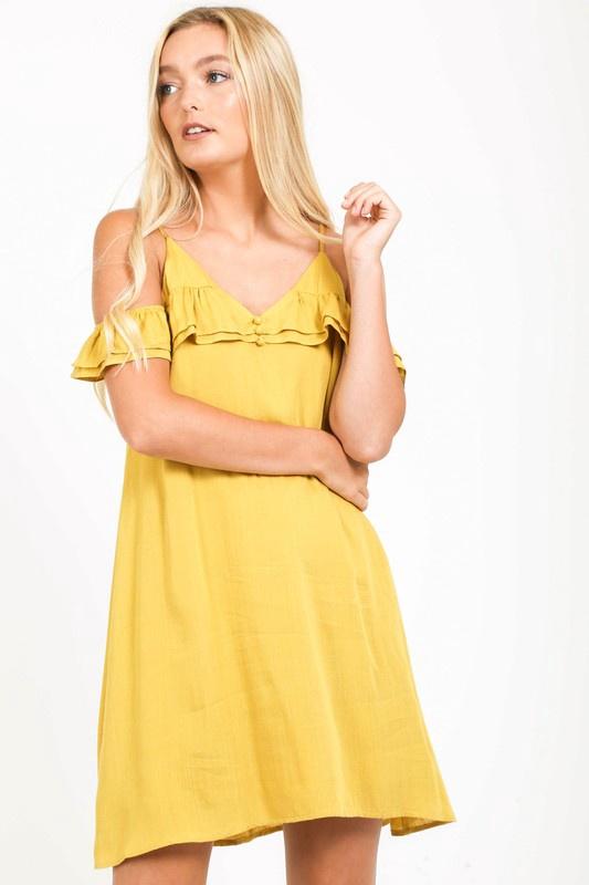 Mustard Spag Dress w OTS Ruffle Slv