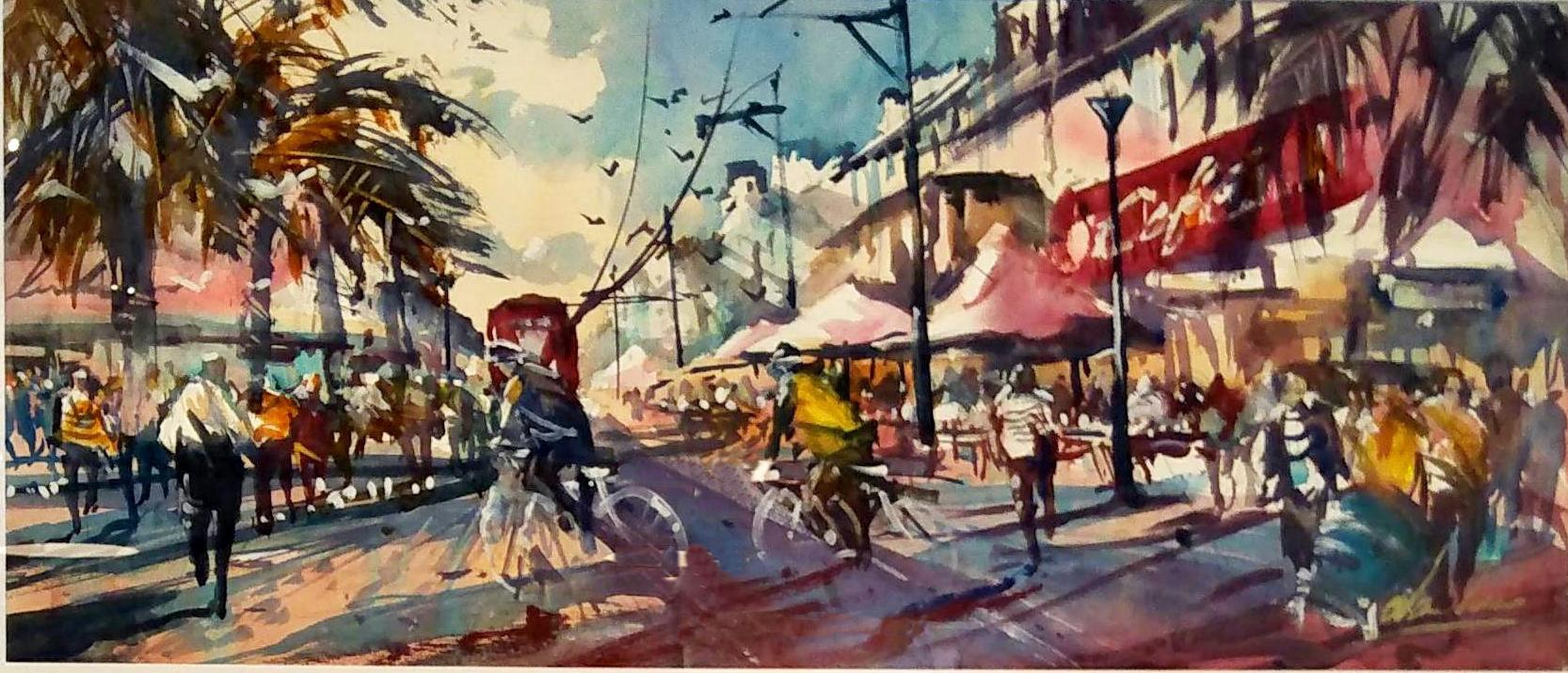 Water Colour Painting - Glenelg - Busy Afternoon