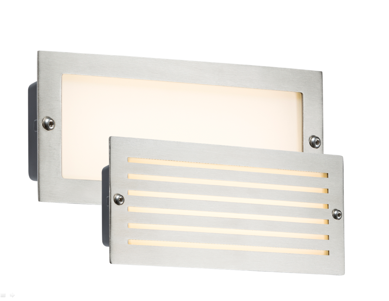 230V IP54 5W WHITE LED BRICK LIGHT - BRUSHED STEEL FASCIA