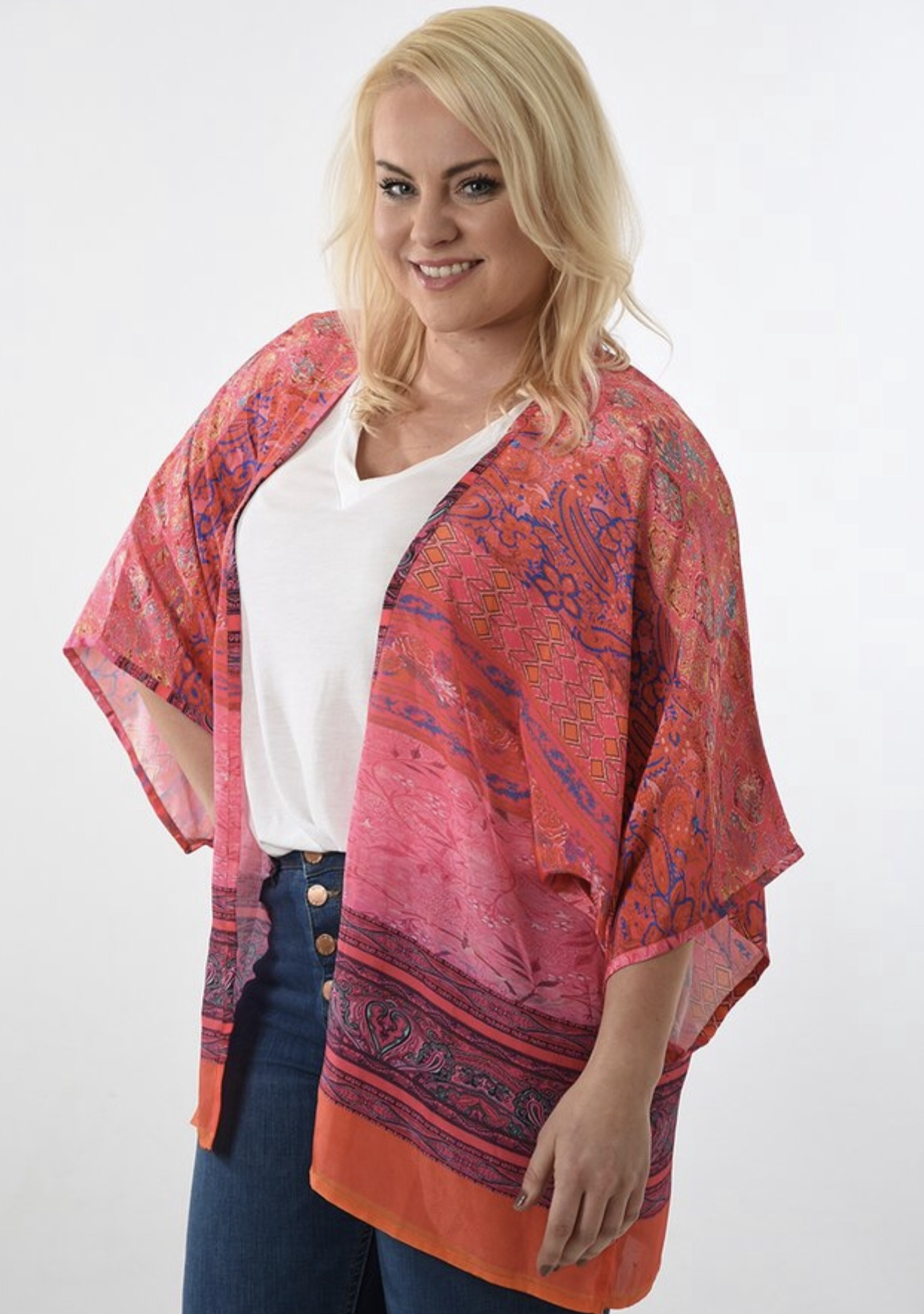 Pink abstract brush print short kimono