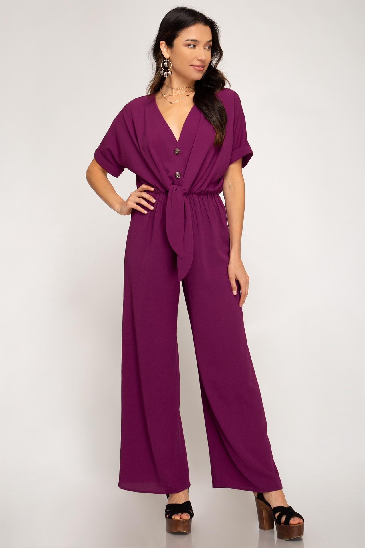 Magenta Purple Wide Leg Jumpsuit w Tie & Buttons Up Front