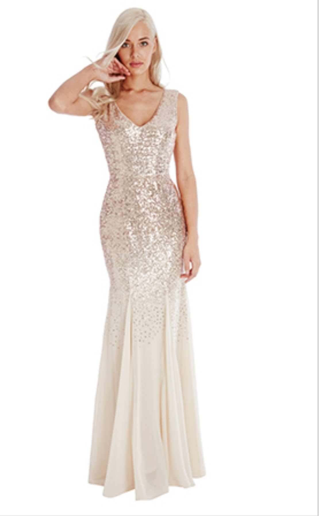 Champagne/cream sequinned floor length dress