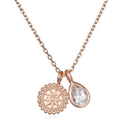 Rose Gold Mandala Necklace | White Topaz
