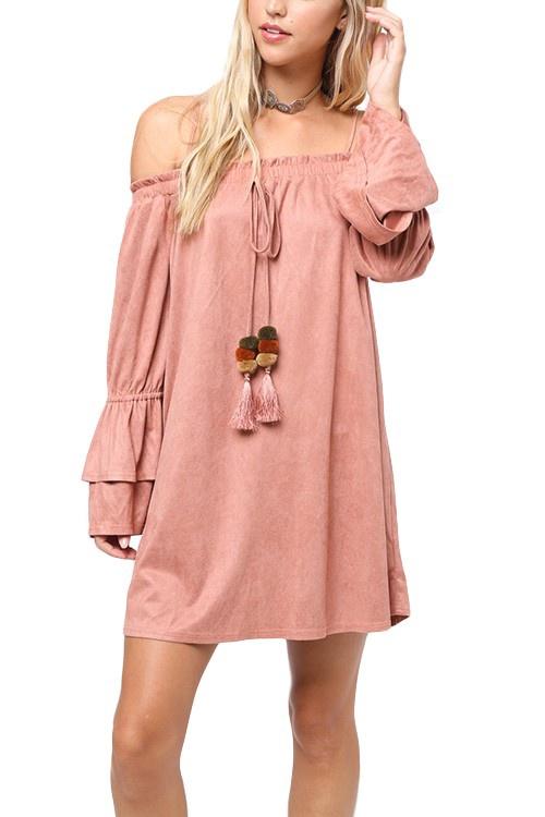Blush Suede OTS Dress w Dangle Poms