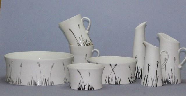 Black Grass Porcelain Large Bowl