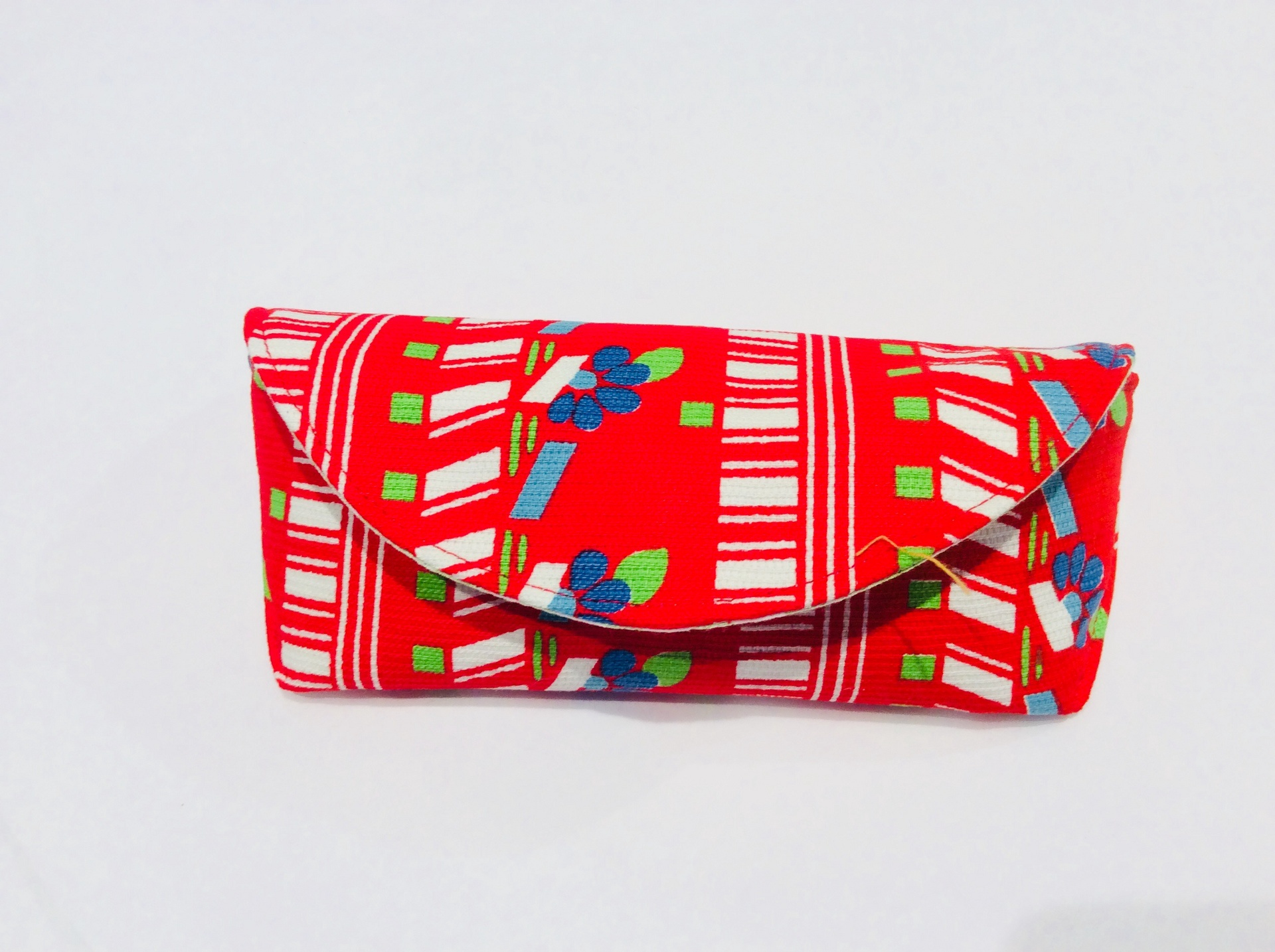 Funky Vintage Fabric Glasses Case - Red, Blue and Green