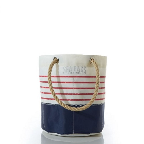 Red Mariner Stripe Beverage Bucket Bag