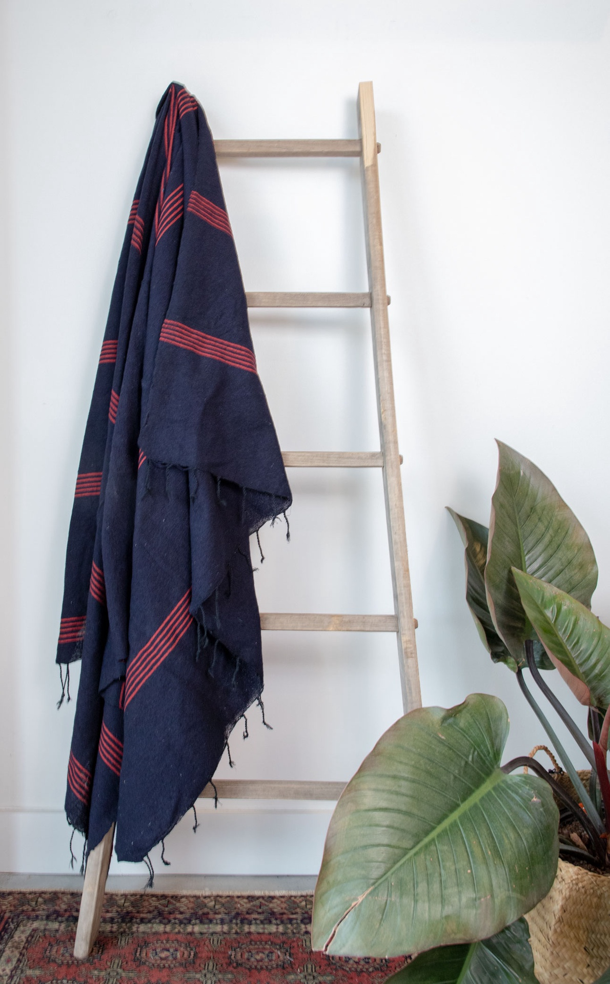 Handmade Woven Blanket Navy and Red
