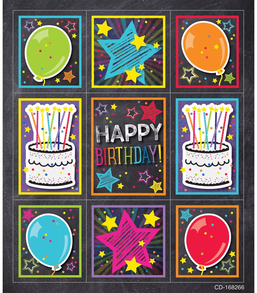 CD 168266 BIRTHDAY PRIZE PK STICKERS