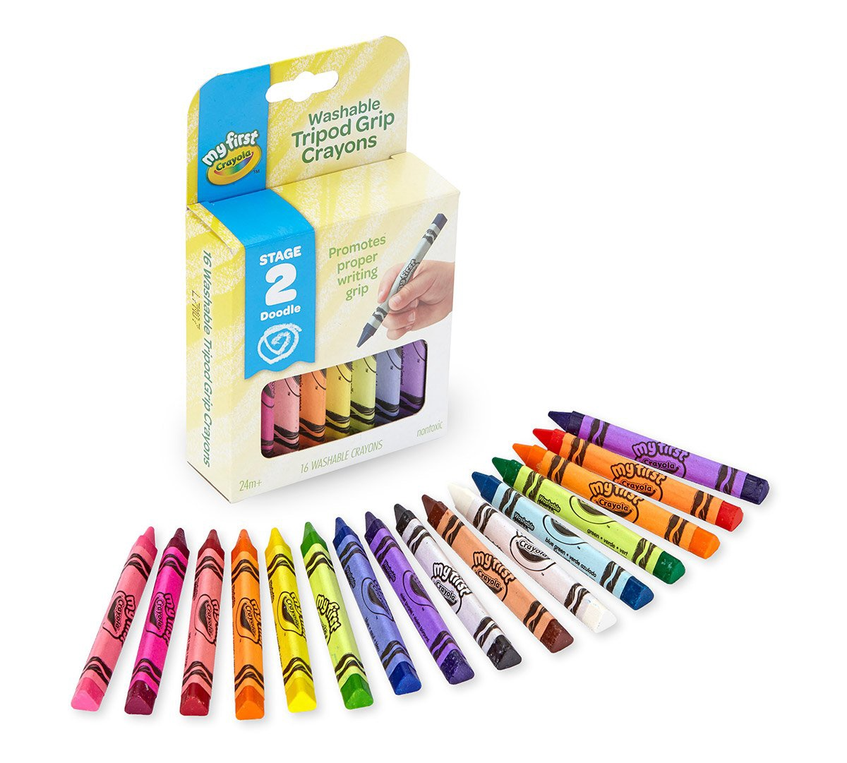 WASHABLE TRIPOD GRIP CRAYONS 16 CT