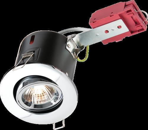 230V IP20 50W GU10 IC Fire-Rated Tilt Downlight Chrome