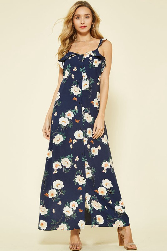 Navy Floral Maxi w Buttons