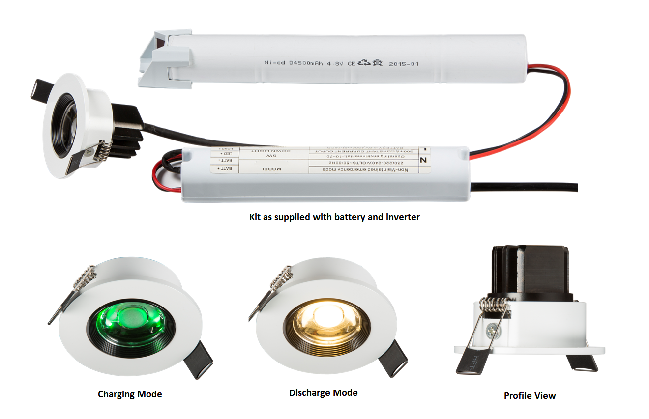 230V IP20 5W LED Emergency Downlight 6000K (non-maintained use only)
