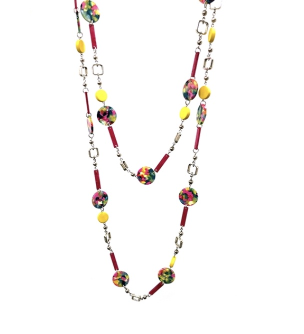 Multi bead fushcia & yellow long necklace