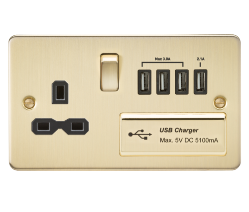 Flat plate 13A switched socket with quad USB charger - brushed brass with black insert