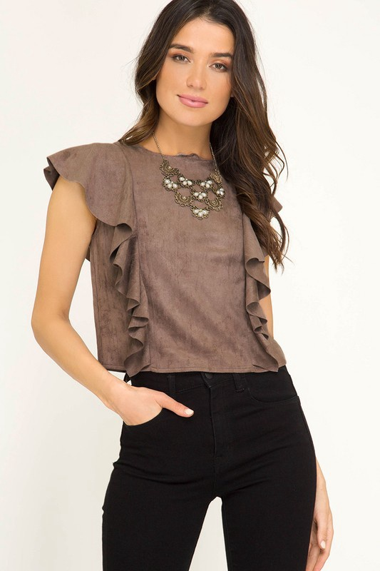 Ruffle Shoulder Suede Crop Top
