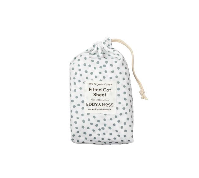 100% ORGANIC COTTON PERCALE FITTED COT SHEET - SAGE SPOTS