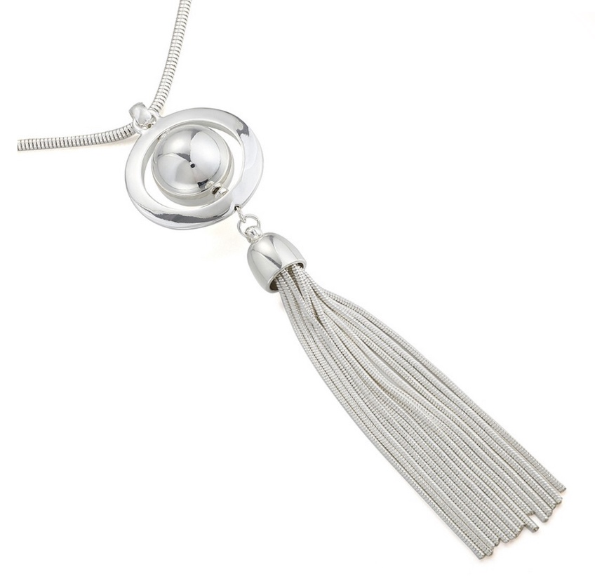 Orb long necklace with tassel