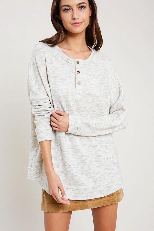 H. Crm L/S Boxy Top w Buttons Up Front